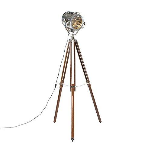 QAZQA Design / Industrie / Modern / Stehleuchte / Stehlampe / Standleuchte / Lampe / Leuchte Tripod Lampe / Dreifuss Beam braun mit chrom Glas / Holz / Metall / Rund / Andere / LED geeignet E27 Max. 1 x 60 Watt