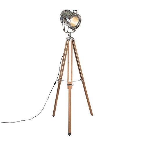 QAZQA Design / Industrie / Modern / Stehleuchte / Stehlampe / Standleuchte / Lampe / Leuchte Tripod Lampe / Dreifuss Konstruktion chrom mit Holz Glas / / Metall / Rund / Andere / LED geeignet E27 Max. 1 x 60 Watt