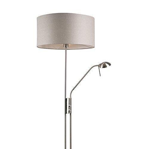 QAZQA Modern Stehleuchte / Stehlampe / Standleuchte / Lampe / Leuchte Luxor stahl / nickel matt mit Lampenschirm 50 cm alt grau Metall / Textil / Rund E27 Max. 1 x 40 Watt Dimmer / Dimmbar