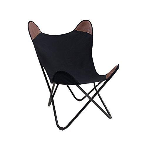 sessel butterfly canvas schwarz designklassiker mit eisengestell lounge esszimmer klappstuhl. Black Bedroom Furniture Sets. Home Design Ideas