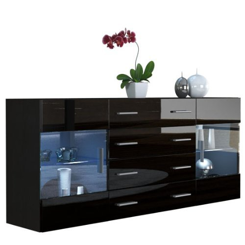 sideboard kommode bari v2 korpus in schwarz matt front in schwarz hochglanz retro stuhl. Black Bedroom Furniture Sets. Home Design Ideas