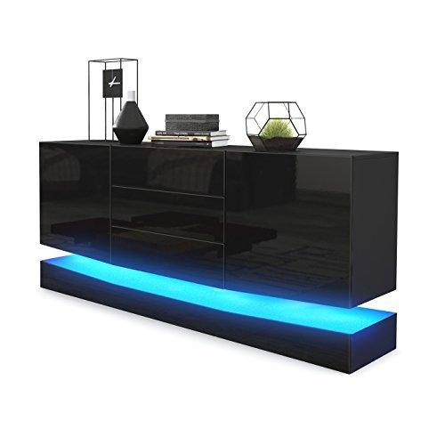 sideboard kommode city korpus in schwarz matt fronten. Black Bedroom Furniture Sets. Home Design Ideas