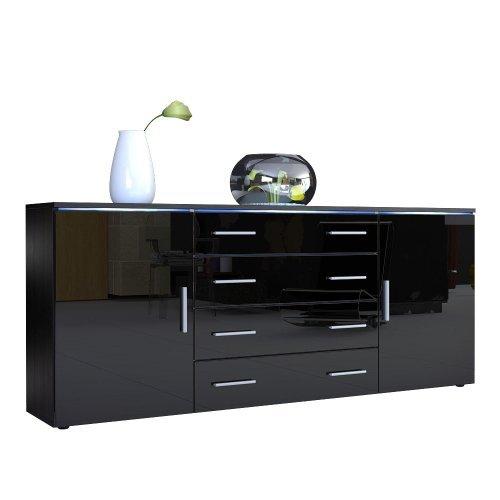 sideboard kommode faro v2 korpus in schwarz matt front. Black Bedroom Furniture Sets. Home Design Ideas