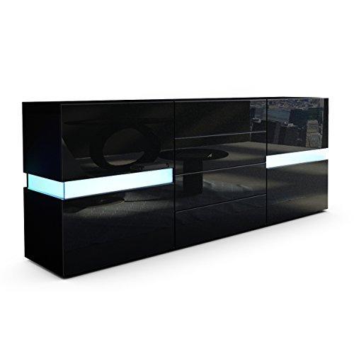 sideboard kommode flow korpus in schwarz matt front in schwarz hochglanz inkl led. Black Bedroom Furniture Sets. Home Design Ideas