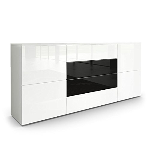 sideboard kommode rova korpus in wei matt fronten in wei hochglanz und schwarz hochglanz. Black Bedroom Furniture Sets. Home Design Ideas