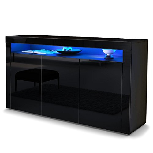 sideboard kommode valencia korpus in schwarz matt front. Black Bedroom Furniture Sets. Home Design Ideas