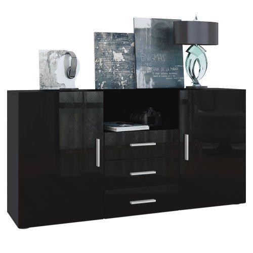 sideboard skadu korpus in schwarz matt front in schwarz hochglanz retro stuhl. Black Bedroom Furniture Sets. Home Design Ideas