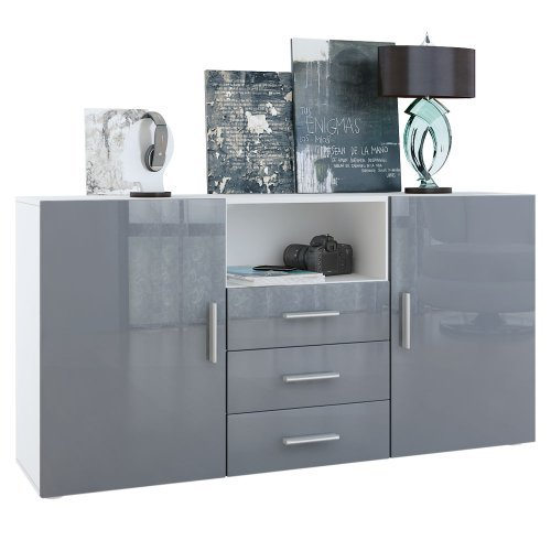 sideboard skadu korpus in wei matt front in grau hochglanz retro stuhl. Black Bedroom Furniture Sets. Home Design Ideas