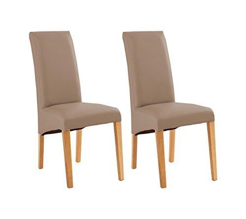 stuhl esszimmerstuhl k chenstuhl polsterstuhl 2er set kunstleder braun cappuccino buche. Black Bedroom Furniture Sets. Home Design Ideas