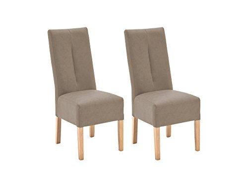 Stuhl, Esszimmerstuhl, Küchenstuhl, Polsterstuhl, 2er Set, Kunstleder, taupe, grau, beige, Buche, massiv, Lederlook