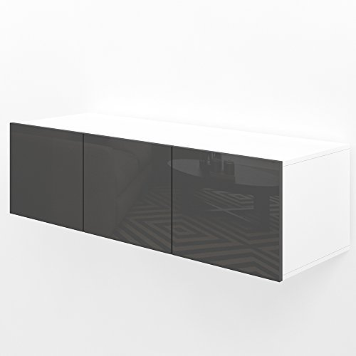 TV Lowboard 120cm Anthrazit Hochglanz Sideboard Wandschrank Fernsehschrank Wohnwand Hängeschrank kompakt schwebend hängend modern