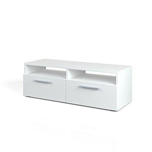 tv lowboard 95cm wei hochglanz fernsehtisch sideboard board schrank regal rack fernsehschrank. Black Bedroom Furniture Sets. Home Design Ideas