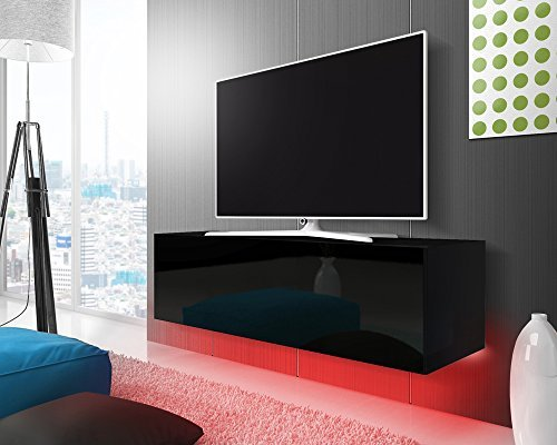 tv schrank lowboard h ngeboard simple mit led rot schwarz. Black Bedroom Furniture Sets. Home Design Ideas