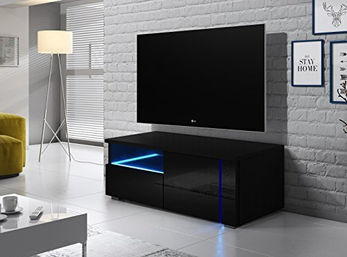 tv schrank lowboard sideboard tisch m bel board oxy single schwarz matt schwarz hochglanz. Black Bedroom Furniture Sets. Home Design Ideas