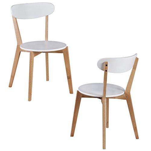 WOHNLING 2er Set Esszimmerstühle MDF Weiß Design Holz-Stühle retro ...