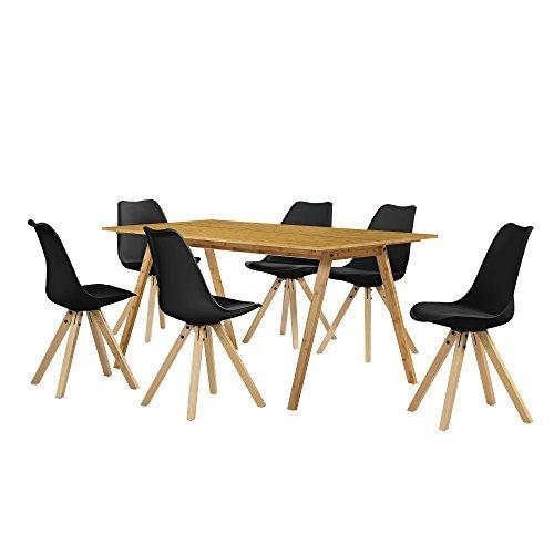 esstisch essgruppe mit 6 st hlen schwarz 180 80. Black Bedroom Furniture Sets. Home Design Ideas