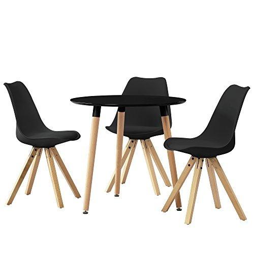 esstisch rund schwarz 80cm mit 3 st hlen schwarz gepolstert esszimmer essgruppe. Black Bedroom Furniture Sets. Home Design Ideas