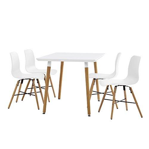 esstisch wei 120 x 80 x 75cm st hle wei 80 x 44 5cm retro stuhl. Black Bedroom Furniture Sets. Home Design Ideas