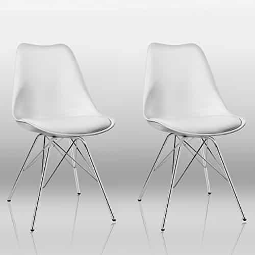 esszimmerstuhl 2er set in wei k chenstuhl kunststoff mit sitzkissen stuhl vintage design retro. Black Bedroom Furniture Sets. Home Design Ideas