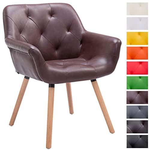 CLP Besucher-Stuhl CASSIDY, Kunstleder-Bezug, belastbar bis 150 kg, Retro-Stuhl mit Armlehne, sesselförmiger Sitz, gepolstert, Sitzhöhe 45 cm bordeauxrot, Holzgestell Farbe natura