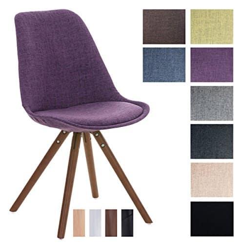 CLP Design Stuhl PEGLEG mit Stoff-Bezug, Retro Design, Esszimmer-Stuhl gepolstert, Sitzhöhe 46 cm lila, Holzgestell walnuss