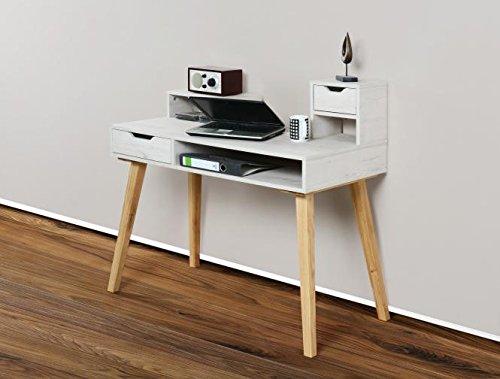 1194 - Schreibtisch Sekretär in verschiedenen Farben, mit massiven Füßen (weiß antik / eiche massiv)