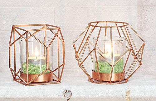2er Set Windlichter / Teelichthalter in Roségold - Inhalt pro Set 2 Windlichter inklusive 2 Gläsern zum Einsetzen von Teelichtern oder kleinen Stumpenkerzen - SET Copenhagen klein