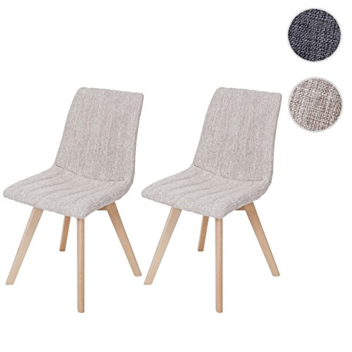 2x Esszimmerstuhl Calgary, Stuhl Lehnstuhl, Retro 50er Jahre Design, Textil ~ creme