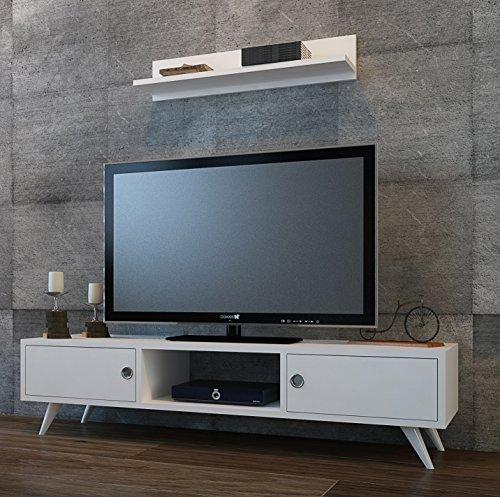 ASPEN Wohnwand – Weiß – TV Lowboard mit Wandregal in modernem Design