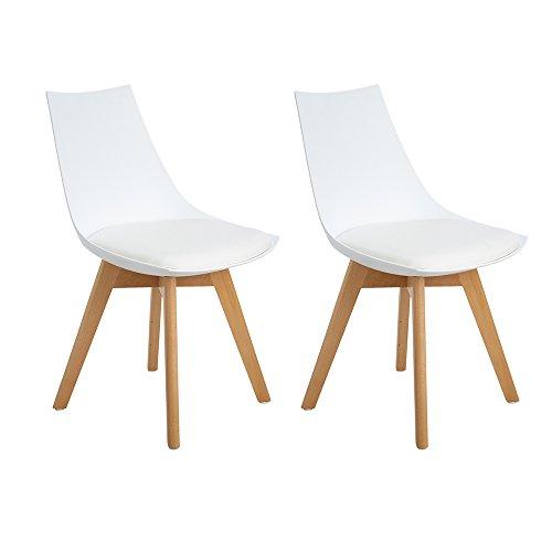 Ajie 2er Set Retro Designer Stuhl Esszimmerstühle Wohnzimmerstühl mit bequem Gepolstertem Sitz,Weiß