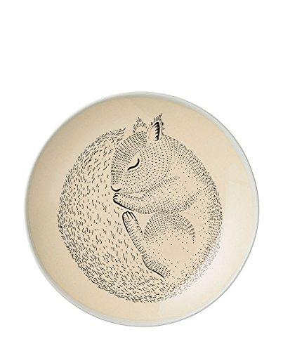Bloomingville Kinderporzellan Kinderteller Adalynn Eichhörnchen/Kaninchen Teller keramik (Ø20cm; 2er Set)