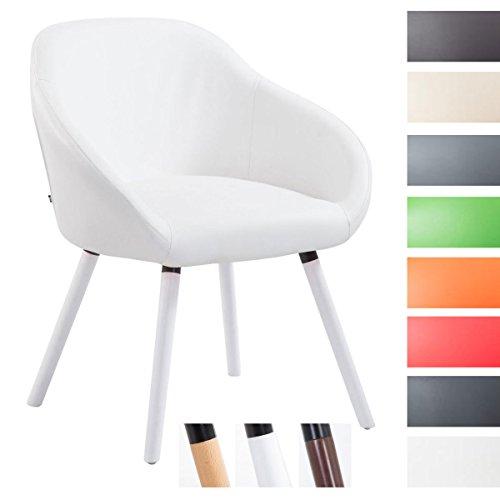 CLP Besucher-Stuhl HAMBURG mit Armlehne, max. Belastbarkeit 150 kg, Holz-Gestell, Kunstleder-Bezug, Sitzfläche gepolstert, mit Bodenschonern, Weiß, Gestellfarbe: Weiß