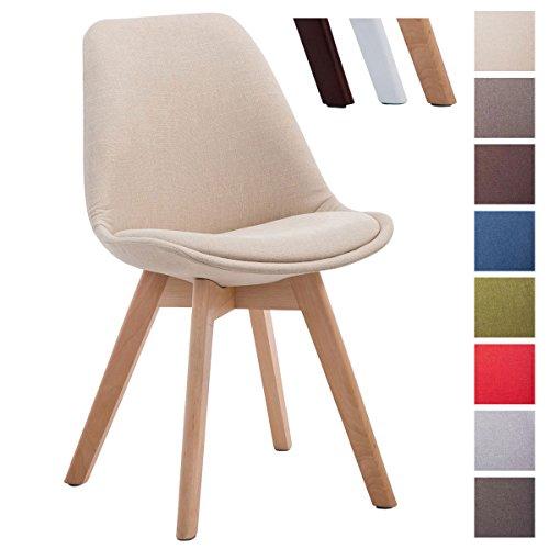 CLP Design Retro Stuhl BORNEO V2, Holz-Gestell, Stoff-Bezug creme, Gestellfarbe: natura