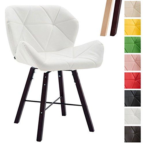 CLP Design Retro-Stuhl BRAD, Kunstleder-Sitz gepolstert, 2 Gestellfarben, Buchenholz-Gestell, Weiß, Gestellfarbe: Cappuccino