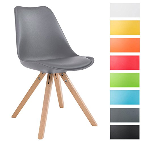 clp design retro stuhl toulouse square kunststoff lehne kunstleder sitz gepolstert grau. Black Bedroom Furniture Sets. Home Design Ideas
