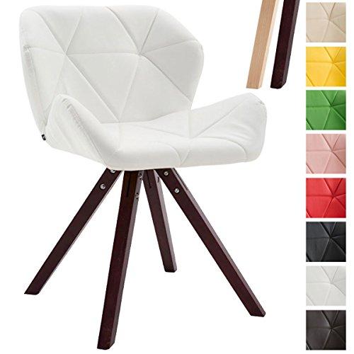 CLP Design Retro-Stuhl TYLER, Bein-Form square, Kunstleder-Sitz gepolstert, 2 Gestellfarben, Buchenholz-Gestell, Weiß, Gestellfarbe: Cappuccino