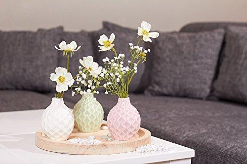 Dekoset Pastell – Deko Vasen mit Holz Tablett