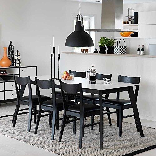 Design sitzgruppe in schwarz wei modern 7 teilig for Esszimmergruppe modern