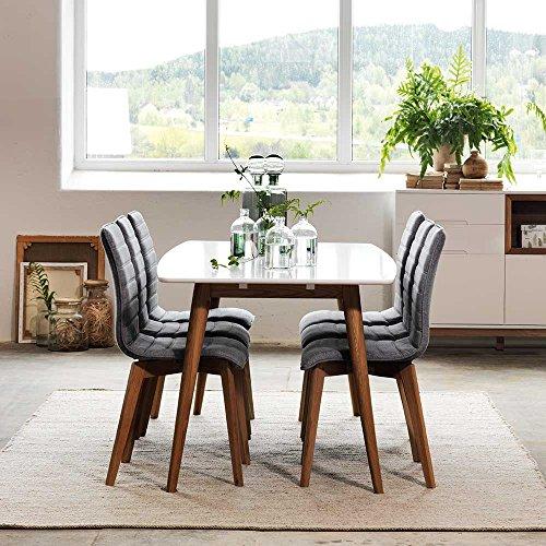 Esstisch mit st hlen in wei grau ausziehbar 7 teilig for Esstisch stuhle weiss