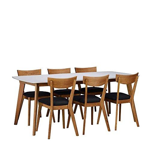 esszimmer sitzgruppe in wei eiche grau 7 teilig breite 190 cm ohne verl ngerbar um je ohne. Black Bedroom Furniture Sets. Home Design Ideas