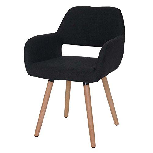 Esszimmerstuhl Altena II, Stuhl Lehnstuhl, Retro 50er Jahre Design ~ Textil, schwarz