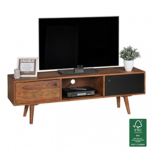 finebuy tv lowboard 140 cm massiv holz sheesham landhaus 2 t ren fach hifi regal braun. Black Bedroom Furniture Sets. Home Design Ideas