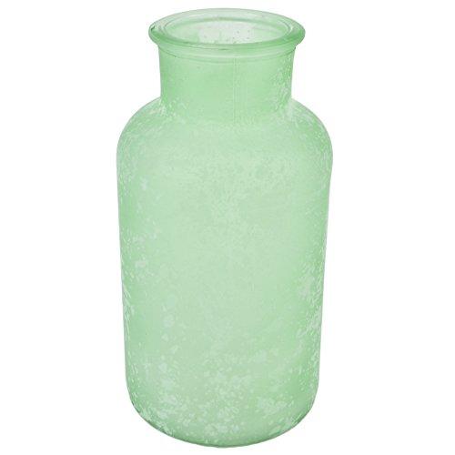 Flasche Deko Vase Glas 17x8x8cm Tischdeko (mint)