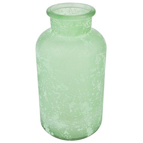 Flasche Deko Vase Glas 20x10x10cm Tischdeko (mint)