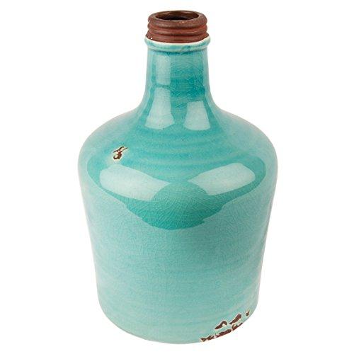 Flasche Kyla Dekoflasche Vase Landhaus Pastel craquele Keramik Gefäß (Azurblau)