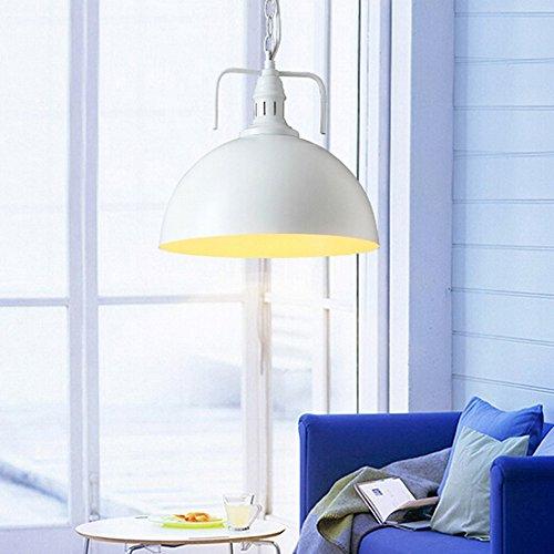 Hahaemall Industrie/Metall-Pendelleuchte Antik-Stil, Weiß, 30cm (Leuchtmittel nicht enthalten)