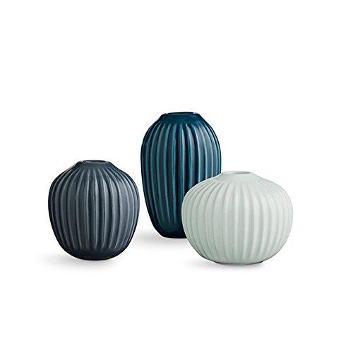 Kähler Design Mini-Vasen Hammershøi Mint-Anthrazit-Petrol (3-teilig)