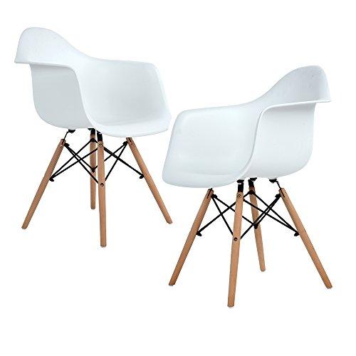 Lot von 2 Esszimmerstuhl, Ajie Retro Stuhl Beistelltisch mit solide Buchenholz Bein - weiß