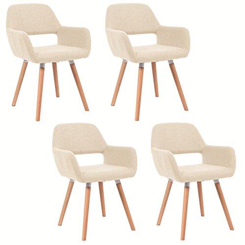 MCTECH® 4er Set Esszimmerstühle Besucher-Stuhl Esszimmerstuhl Wohnzimmerstuhl Stuhlgruppe Konferenzstühle Bürostuhl Küchenstuhl Armlehne (Beige)