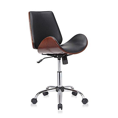 MY SIT Design Stuhl Retro Drehstuhl Bürostuhl Vintage Antik Kunstleder Drehhocker Wohnzimmerstuhl Esszimmerstuhl Drehsessel Höhenverstellbar - Constance in Schwarz/Braun